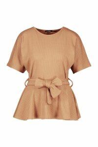Womens Ribbed Short Sleeve Peplum Top - beige, Beige
