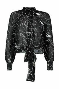 Womens Balloon Sleeve Oversized Face Print Shirt - black - S, Black