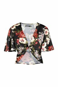 Womens Floral Angel Sleeve Twist Blouse - black - 14, Black