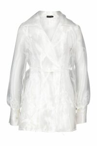 Womens Balloon Sleeve Tie Front Oversize Shirt - white - M, White