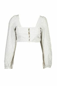 Womens Check Tie Front Blouson Sleeve Crop Top - white - 14, White