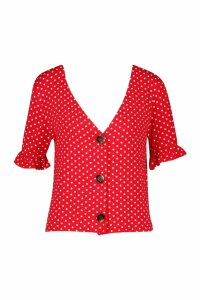 Womens Polka Dot Ruffle Sleeve Top - red - 14, Red