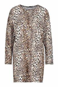 Womens Leopard Longsleeve T-Shirt Dress - brown - 10, Brown