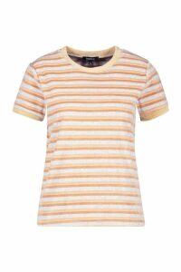 Womens Velour Stripe Ringer T-Shirt - beige - 14, Beige