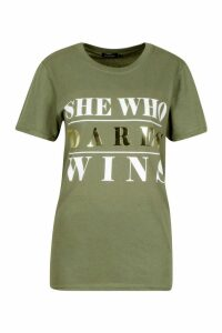 Womens Large She Who Dares Wins Foil Print T-Shirt - green - M, Green