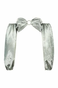 Womens Satin Ring Detail Off The Shoulder Crop Top - green - 14, Green