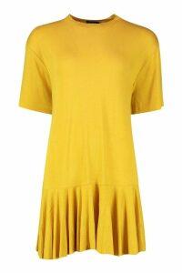 Womens Frill Hem T-Shirt Dress - yellow - 10, Yellow
