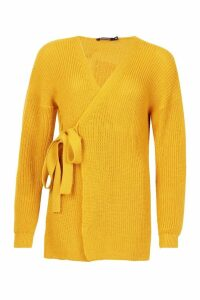 Womens Knitted Side Tie Cardigan - yellow - 10, Yellow