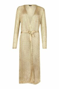 Womens Metallic Knit Long Line Cardigan - metallics - M, Metallics