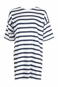 Womens Stripe Drop Shoulder Oversized T-Shirt Dress - navy - 16, Navy
