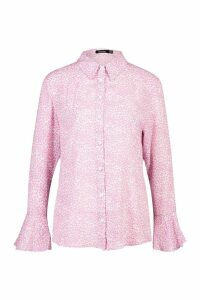 Womens Woven Ditsy Print Floral Cuff Shirt - Pink - 10, Pink