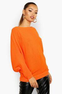 Womens Oversized Rib Knit Batwing Jumper - Orange - M/L, Orange