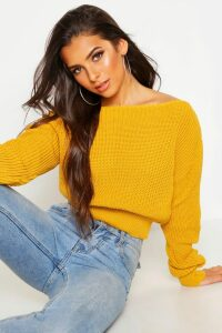 Womens Crop Slash Neck Fisherman Jumper - yellow - M/L, Yellow