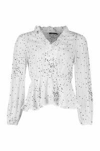 Womens Metallic Polka Dot Peplum Blouse - white - 12, White