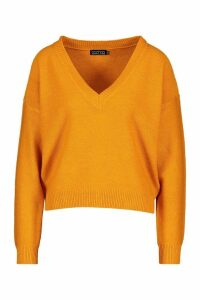 Womens Boxy V Neck Jumper - orange - XS, Orange