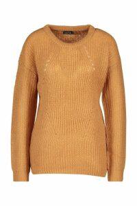 Womens Longline Knit Detail Jumper - beige - XS, Beige