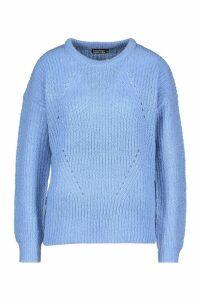 Womens Longline Knit Detail Jumper - blue - M, Blue