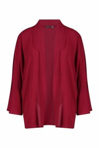 Womens Split Sleeve Belted Kimono - red - 12, Red
