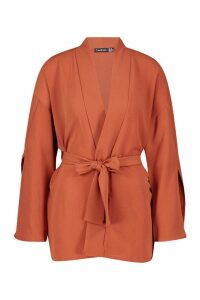 Womens Split Sleeve Belted Kimono - orange - 10, Orange