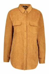 Womens Chunky Cord Pocket Detail Shirt - beige - 14, Beige