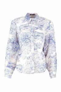 Womens Woven Printed Open Back Shirt - blue - 14, Blue