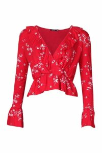 Womens Floral Print Wrap Over Top - red - 14, Red