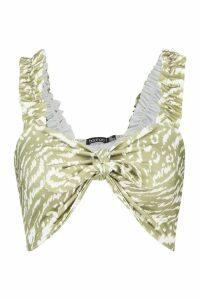 Womens Animal Print Ruffle Strap Tie Front Crop Top - green - 14, Green