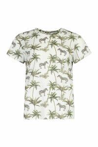 Womens Zebra Repeat Print Ringer T-Shirt - white - M, White
