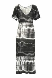 Womens Tie Dye Oversized Midaxi T-Shirt Dress - black - 10, Black