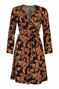 Womens Satin Chain Print Tie Kimono - black - 8, Black