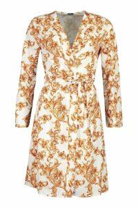 Womens Satin Chain Print Tie Kimono - white - 8, White