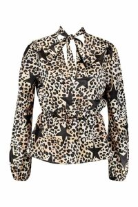 Womens Satin Leopard Star Print Pussy Bow Blouse - black - 10, Black