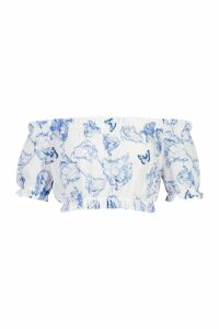 Womens Woven Crepe Floral Bardot Gypsy Top - blue - 8, Blue