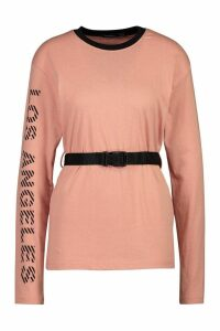 Womens Los Angeles Slogan Belted Long Sleeve Top - orange - 8, Orange