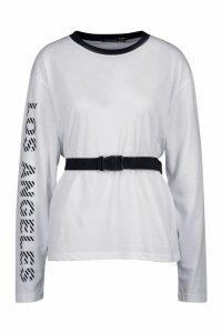 Womens Los Angeles Slogan Belted Long Sleeve Top - white - 12, White