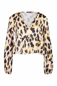 Womens Leopard Print Smock Top - orange - 8, Orange