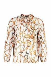 Womens Satin Chain Print Pussy Bow Blouse - white - M, White