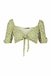 Womens Floral Peasant Sleeve Tie Front Bralet - green - 14, Green