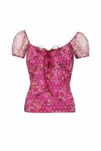 Womens Floral Mesh Lace Up Top - Pink - 10, Pink