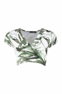 Womens Recycled Green Leaf Deep V Crop Top - 12, Green