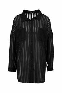 Womens Woven Burnout Stripe Shirt - black - 10, Black