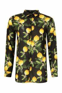 Womens Lemon Print Shirt - black - 14, Black