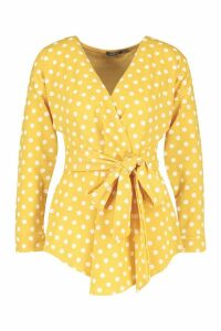 Womens Polka Dot Wrap Blouse - yellow - 14, Yellow