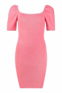 Womens Puff Sleeve Square Neck Knitted Dress - Pink - One Size, Pink