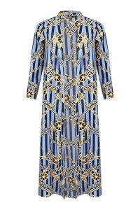 Womens Woven Chain Stripe Kimono - blue - 8, Blue
