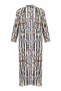 Womens Woven Chain Stripe Kimono - white - 10, White