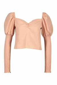Womens Woven Square Neck Puff Sleeve Blouse - pink - L, Pink