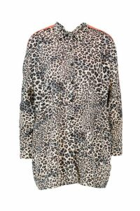 Womens Tall Animal Side Stripe Oversized Shirt - brown - 8, Brown