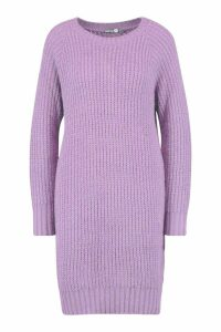 Womens Tall Soft Knit Jumper Dress - purple - S, Purple