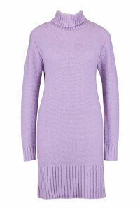 Womens Tall Roll Neck Jumper Dress - purple - S, Purple